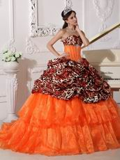 Sexy Deer Printed Pattern Orange Red Quinceanera Dress For 2014