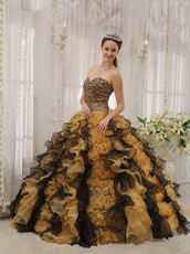 Unique Leopard Print Quinceanera Dress With Black And Yellow Ruffle Skirt