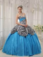 Princess Printed Zebra Bodice Quinceanera Dress With Aqua Ball Gown