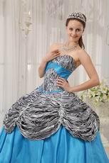 Princess Printed Zebra Bodice Quinceanera Dress With Aqua Ball Gown