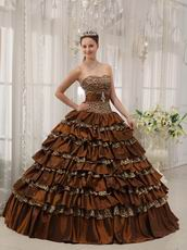 Sexy Brown And Leopard Print Interphase Layers Girls Quinceanera Dress