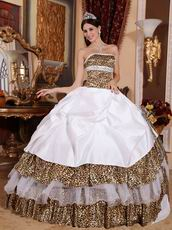 2014 Leopard Printed Fabric Quinceanera Dress With Handmade Flower