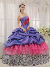 Exclusive Strapless Bubble Floor Length Zebra With Pink Quinceanera Dress