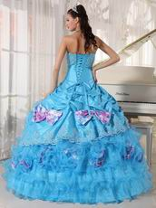 Sky Blue Beaded Bodice Quinceanera Dress With Printed Bowknot