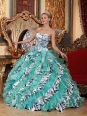 Turquoise And Porcelain Printed Design Quinceanera Dress For Girl