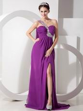 Cheap Purple Prom Dress With One Shoulder Side Split Skirt