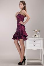 Burgundy One Shoulder Neckline 2014 Short Prom Dress