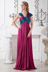 Beautiful Wide Straps Square Plum Floor Length Prom Dresses