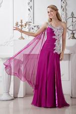 Appliqued One Shoulder Plum Chiffon Long Prom Dress With Split