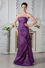 Affordable Strapless Corset Purple Taffeta Evening Dress Cheap
