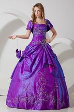 Top Designer Embroidery Purple Quinceanera Dresss With Jacket