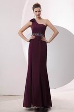 One Shoulder Strap Dark Purple Floor Length Prom Dress Designer