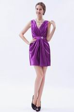 Cheap V-neck Purple Homecoming Dress Under 100 Dollars