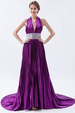 2011 Noble Halter Purple Evening Dress With Sequin Sash