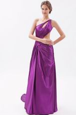 Cheap One Shoulder Panel Train Purple Evening Dress Online