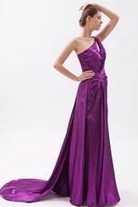 Cheap One Shoulder Panel Train Purple Evening Dress Online