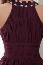 High-neck Purple Chiffon Homecoming Dress Online