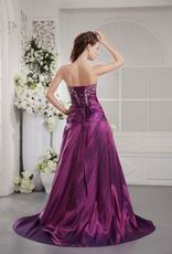 Purple Floor Length Taffeta Evening Dress With Embroidery