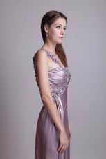 One Shoulder High Side Split Rosy Brown Evening Dress