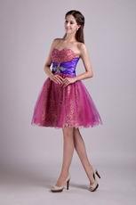 Purple Short Leopard Fabric Cocktail Party Dress