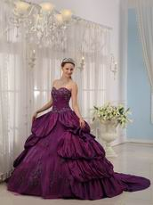 Bubble Eggplant Purple Quinceanera Gown With Court Train