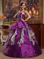 Apple Green And Purple Contrast Skirt Quinceanera Dress