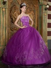 Embroidered Stars Purple Quinceanear Adult Ceremony Dress
