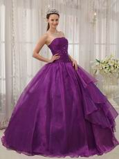 Purple Quinceanera Dress With Puffy Floor Length Skirt