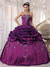 Strapless Embroidery Dark Magenta Quinceanera Season Dress
