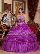 Strapless Purple Organza Puffy Dress To Quinceanera Wear