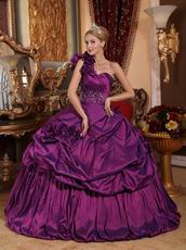 Handmade Flowers Purple One Shoulder Quinceanera Dress
