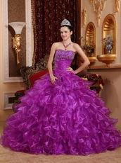 Strapless Magenta Organza Ruffled Skirt Quinceanera Dress