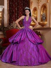 Applique Emberllish Dark Magenta Halter Quinceanera Gown