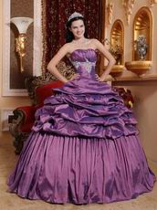 Classic Strapless Puffy Tidebuy Purple Quinceanera Gown