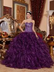 Purple Sweetheart Ruffled Skirt Cheap Military Ball Gown