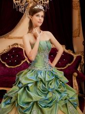 Olive Green Strapless Quinceanera Gown Online Store