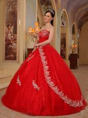 Red Sequin Fabric Cheap Quinceanera Dress For 2014 Party