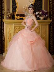 Orange Pink Dress to Quinceanera Party With Embroidery Bodice