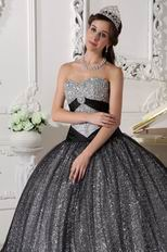 Silver Black Sequined Fabric Prom Quinceanera Dance Dress