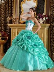 Turquoise Blue Quinceanera Dress With Hand Made Flowers