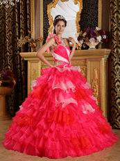 Single Shoulder 2014 Multi-Color Layers Skirt Quinceanera Gown