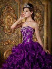 Top Designer Cascade Skirt Pansy Purple Quinceanera Gowns