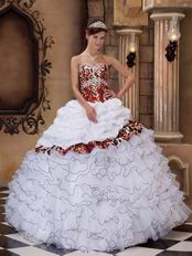 Cascade Skirt White Quinceanera Dress With Leopard Fabric