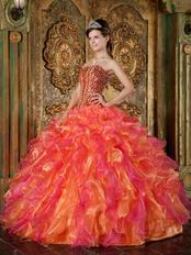Beaded Orange And Hot Pink Ruffles Skirt Quinceanera Gown