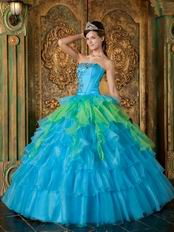 Azure With Spring Green Contrast Layers Skirt Quinceanera Dress