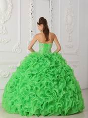 Spring Green Ruffled Skirt Dress to Wear For Quinceanera Party