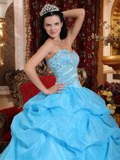 Aqua Floor Length Puffy Stylish Quinceanera Dress Low Price