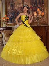 Bright Yellow Layers Cascade Long Skirt Dress To Quinceanera