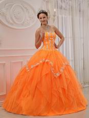 Sweetheart Orange Puffy Military Dress Quinceanera Party