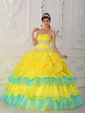 Bright Canary Yellow Layers Skirt Dress For Quinceanera